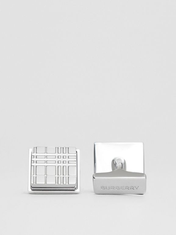 Palladium-plated Check-engraved Square Cufflinks in Silver - Men | Burberry - cell image 1