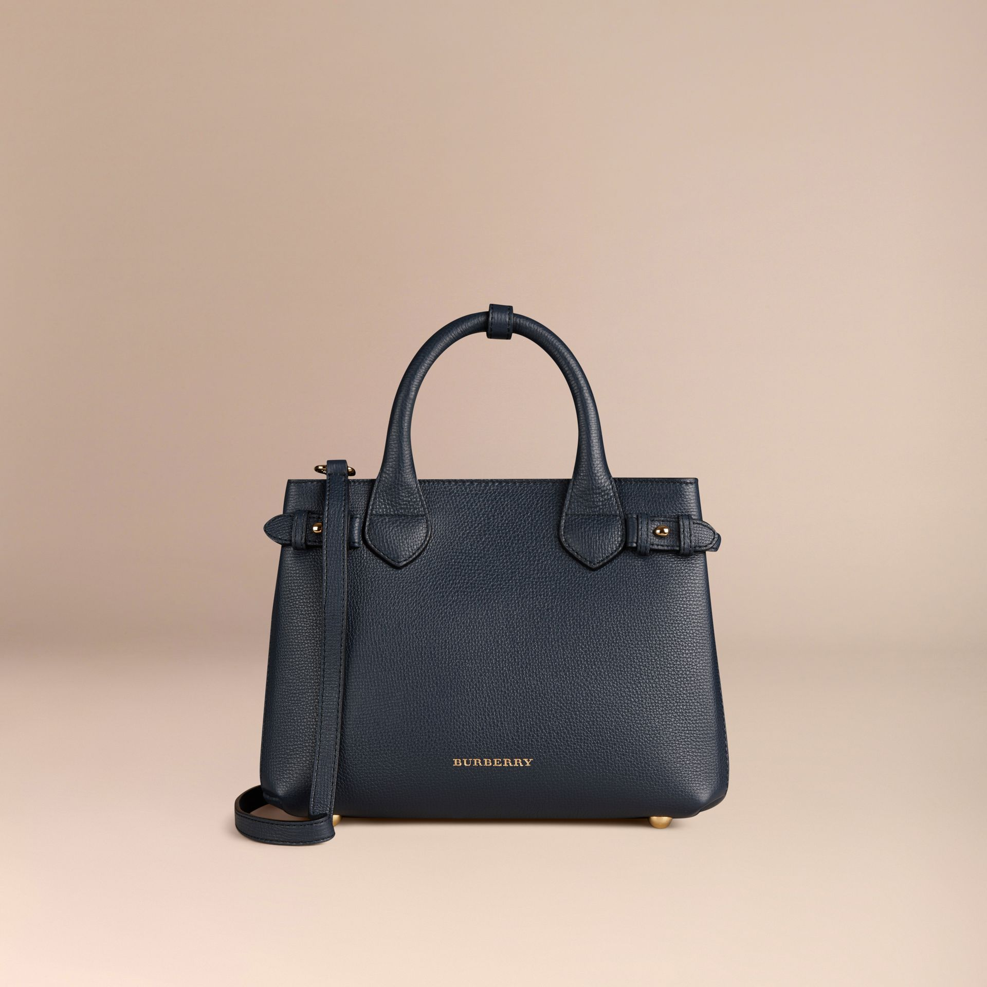 The Small Banner in Leather and House Check in Ink Blue - Women | Burberry - gallery image 6