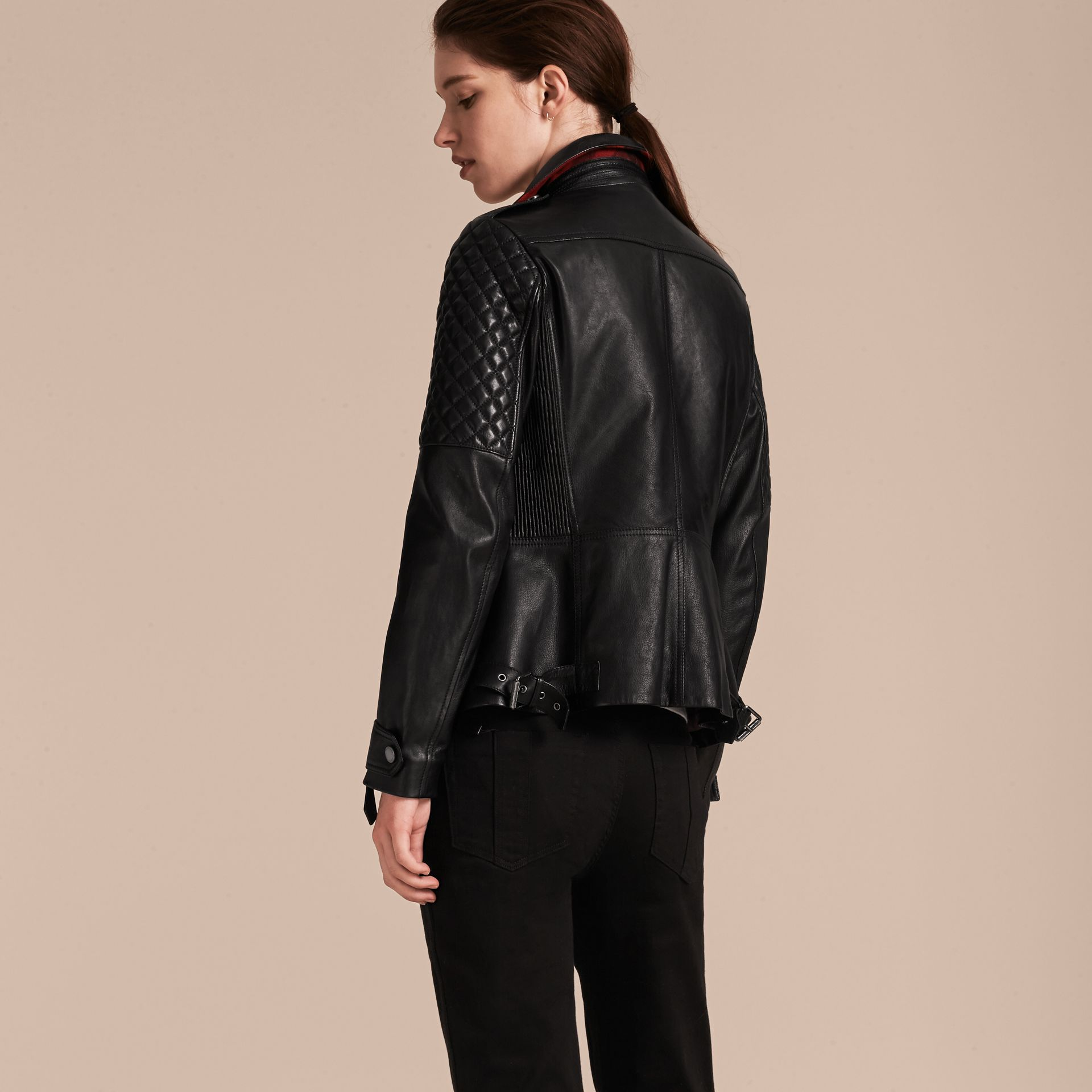 Black Lived-in Lambskin Biker Jacket with Detachable Warmer - gallery image 3
