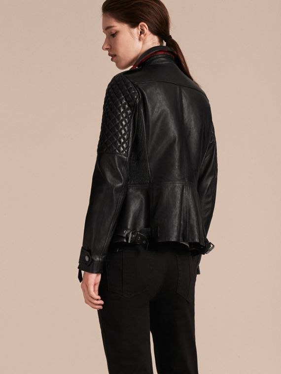 Black Lived-in Lambskin Biker Jacket with Detachable Warmer - cell image 2