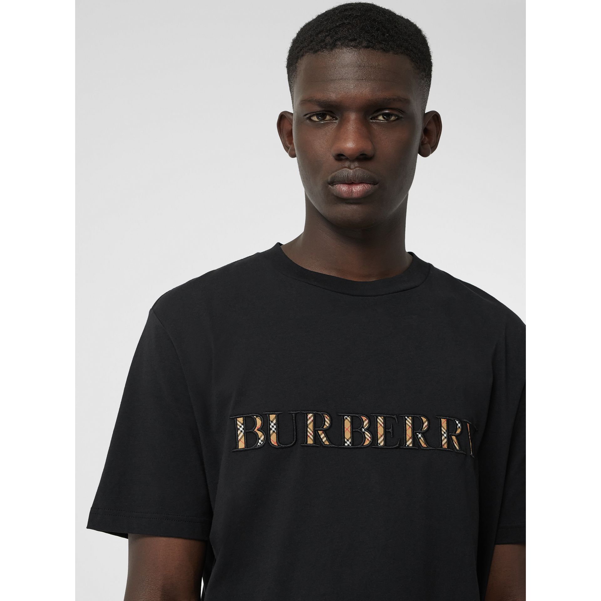 Check Logo Cotton T-shirt in Black - Men | Burberry - gallery image 1
