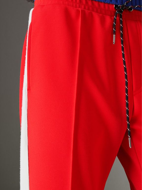 Sport Stripe Cotton Blend Drawcord Trousers in Bright Red - Men | Burberry Australia - cell image 1