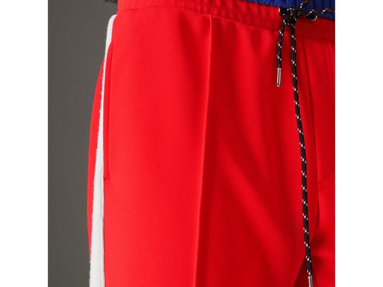 Sport Stripe Cotton Blend Drawcord Trousers in Bright Red - Men | Burberry Singapore - cell image 1