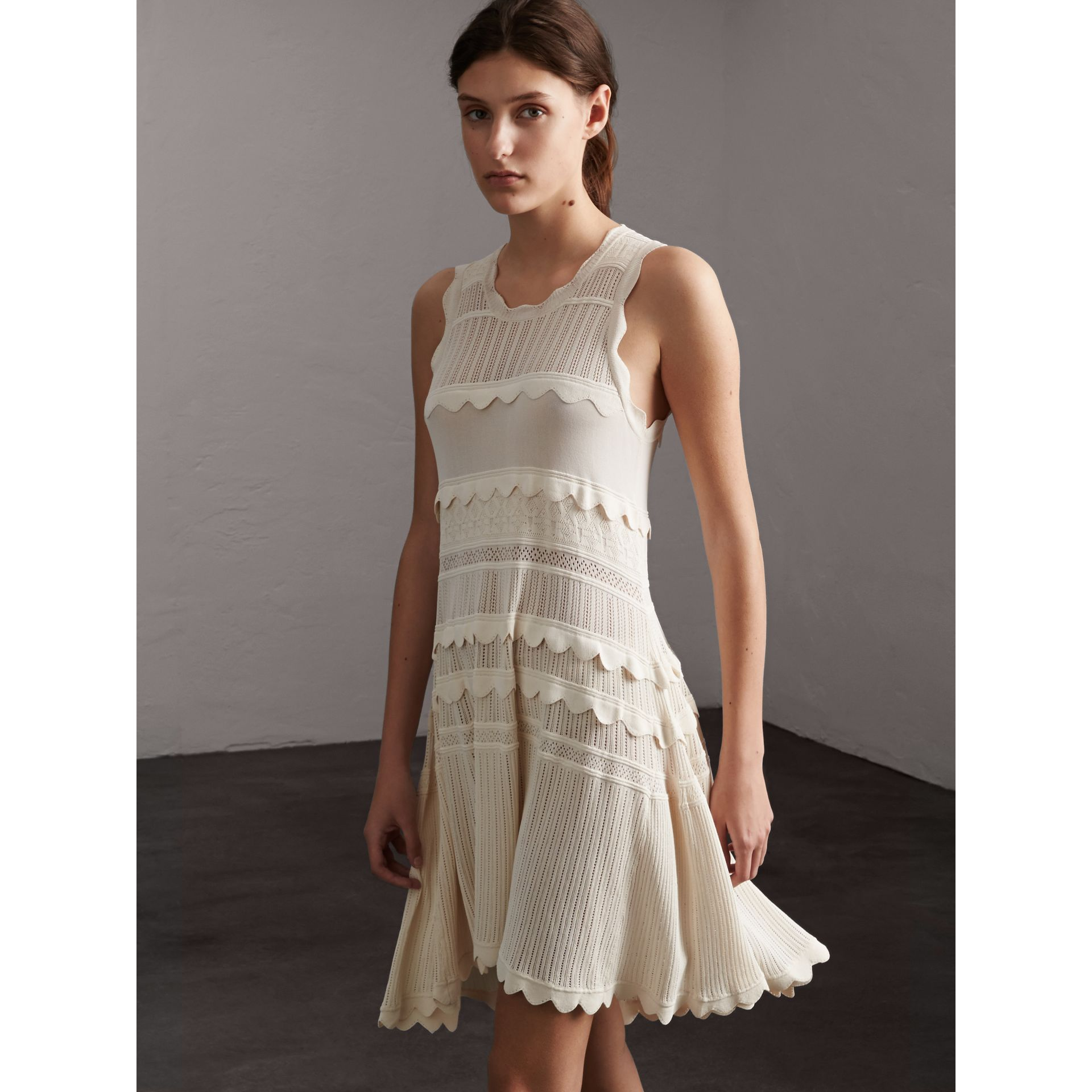 Scallop Detail Multi-stitch Swing Dress in Natural White - Women | Burberry - gallery image 6