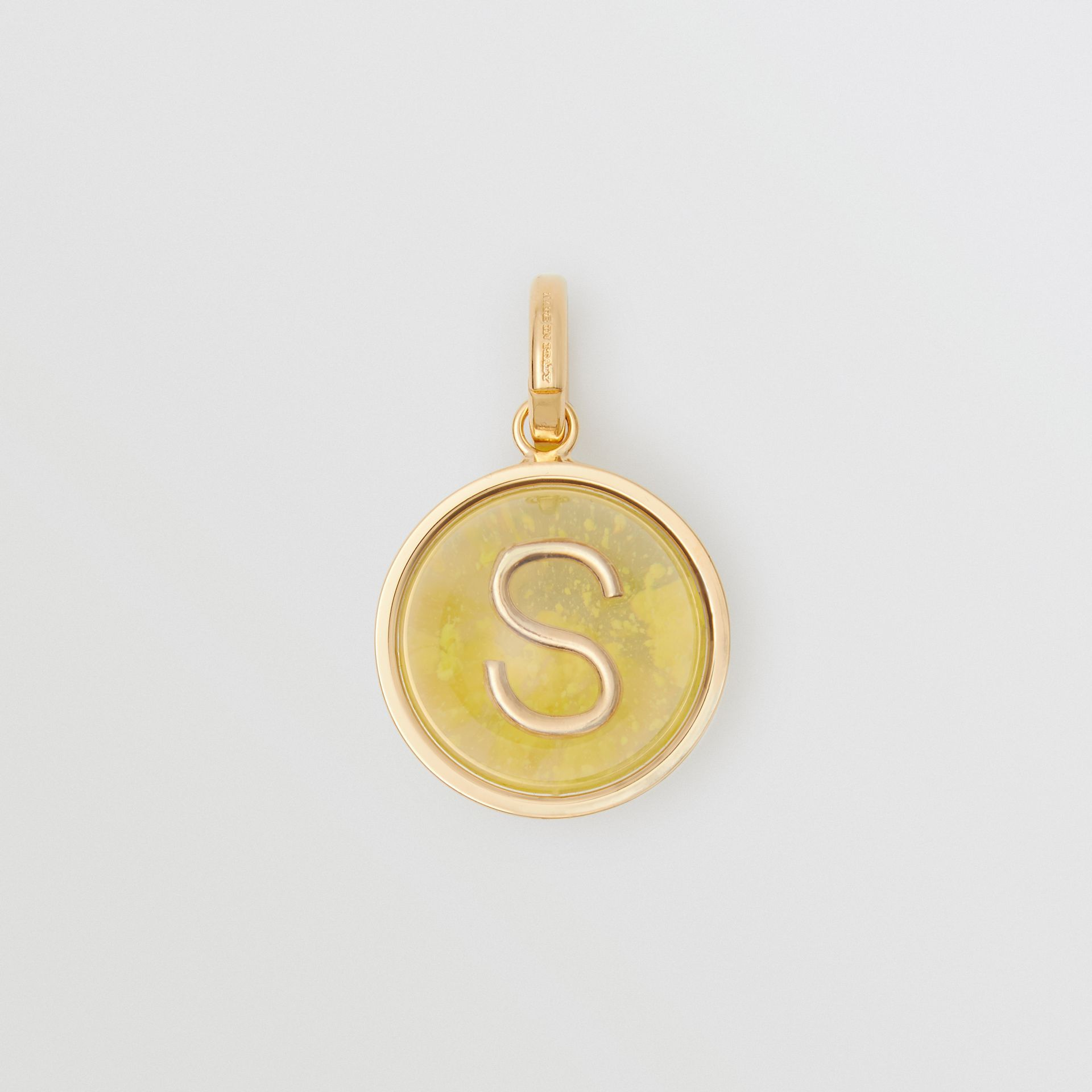Marbled Resin 'S' Alphabet Charm in Gold/mimosa - Women | Burberry - gallery image 0