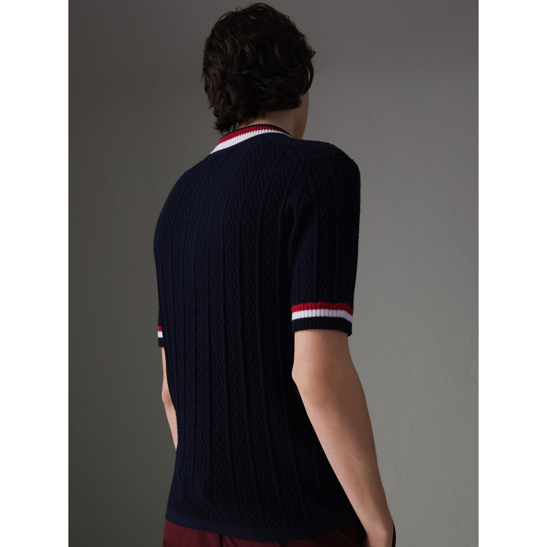 Stripe Detail Cable Knit Wool Polo Shirt in Navy - Men | Burberry - gallery image 2