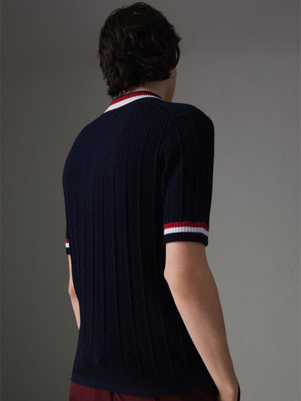 Stripe Detail Cable Knit Wool Polo Shirt in Navy - Men | Burberry Australia - cell image 2