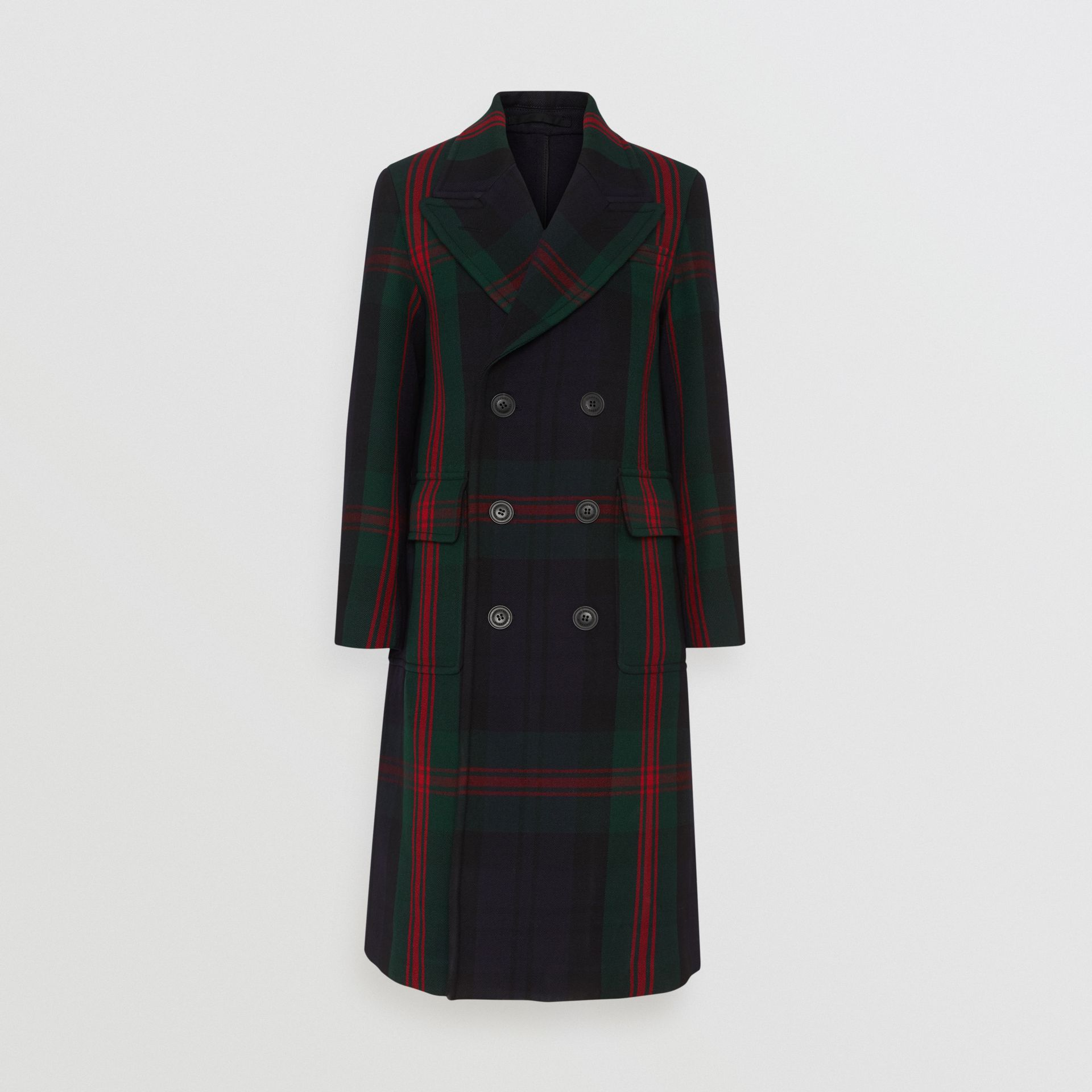 Tartan Wool Mohair Blend Tailored Coat in Navy Check - Men | Burberry - gallery image 3