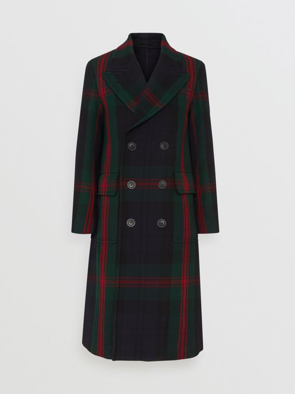 Tartan Wool Mohair Blend Tailored Coat in Navy Check - Men | Burberry Singapore - cell image 3