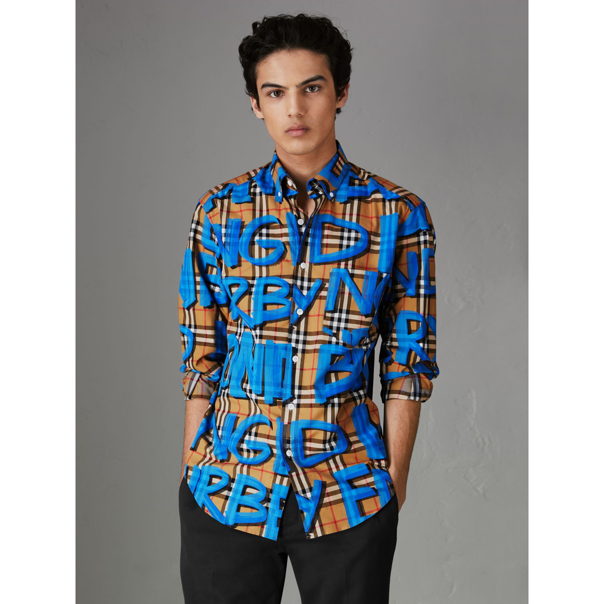 Graffiti Print Vintage Check Shirt in Bright Blue - Men | Burberry Australia - gallery image 0