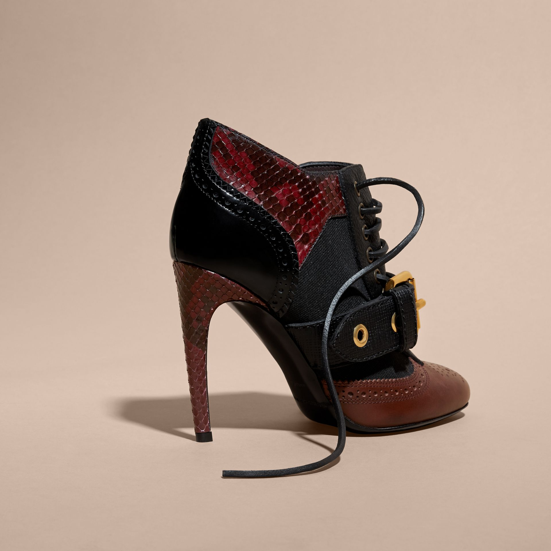 Bordeaux Buckle Detail Leather and Snakeskin Ankle Boots Bordeaux - gallery image 4