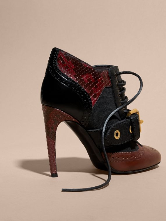 Bordeaux Buckle Detail Leather and Snakeskin Ankle Boots Bordeaux - cell image 3