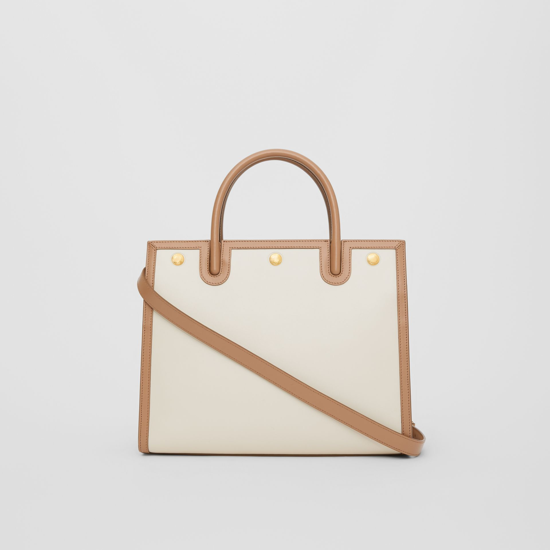 Small Leather Two-handle Title Bag in Buttermilk/camel - Women | Burberry Canada - gallery image 7