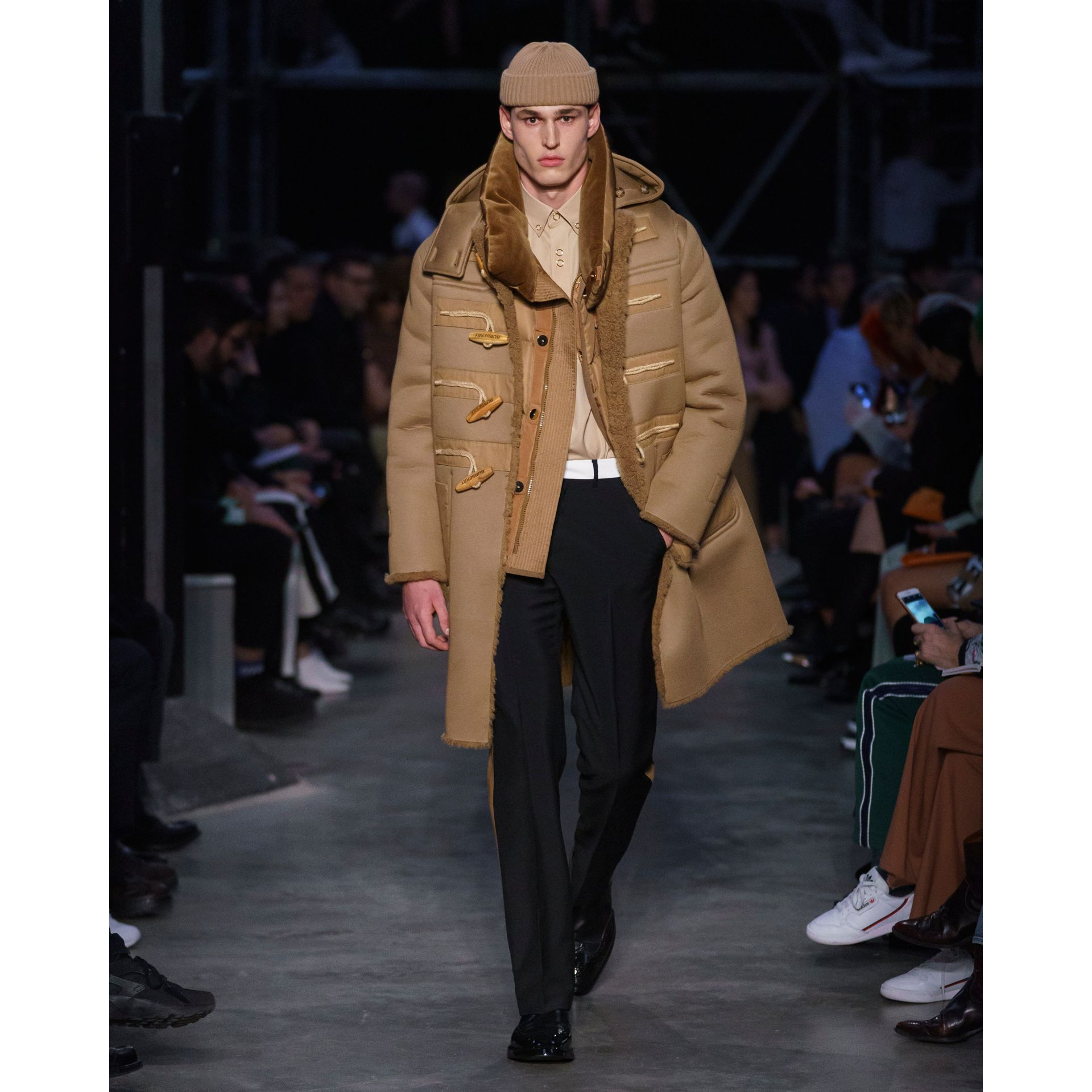 Reversible Neoprene and Shearling Hooded Duffle Coat in Warm Walnut - Men | Burberry - gallery image 7