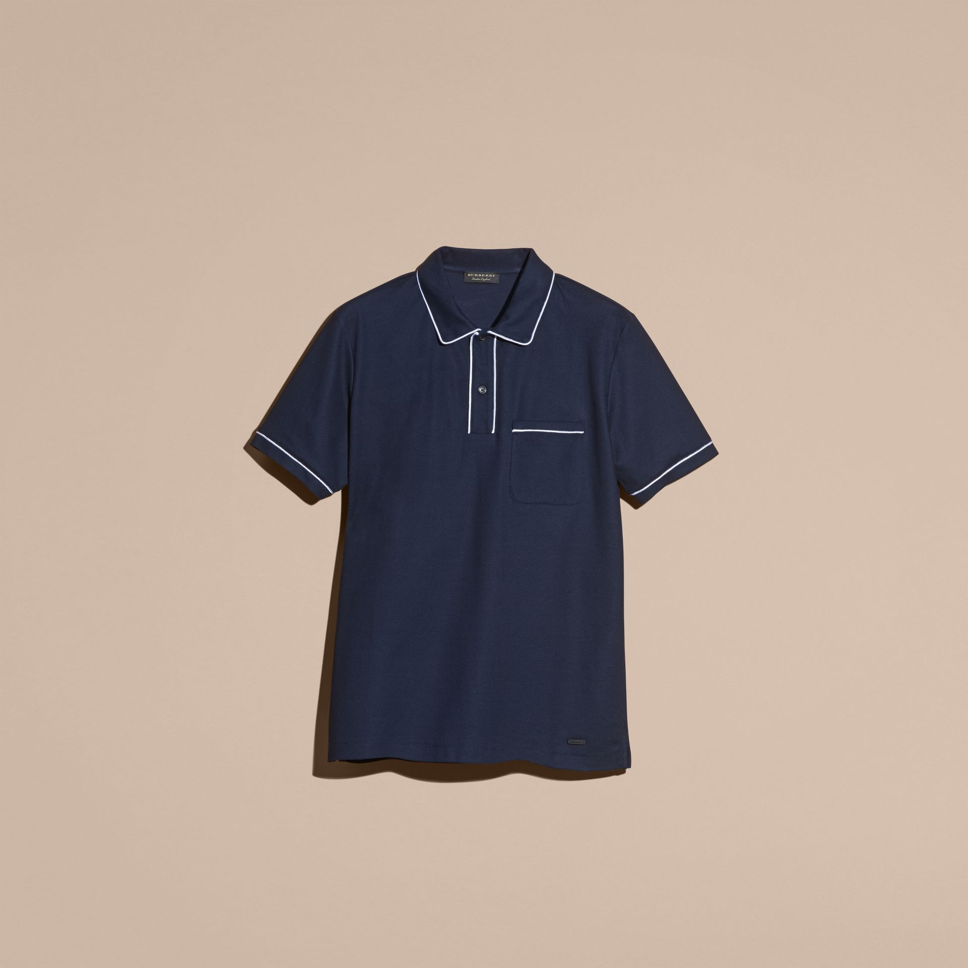 Navy Piped Cotton Piqué Polo Shirt Navy - gallery image 4