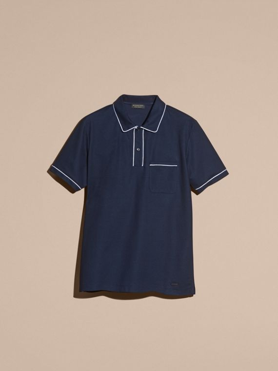 Navy Piped Cotton Piqué Polo Shirt Navy - cell image 3