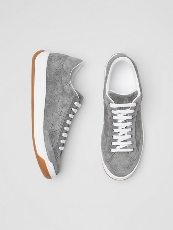 Perforated Logo Suede Sneakers in Dark Grey Melange