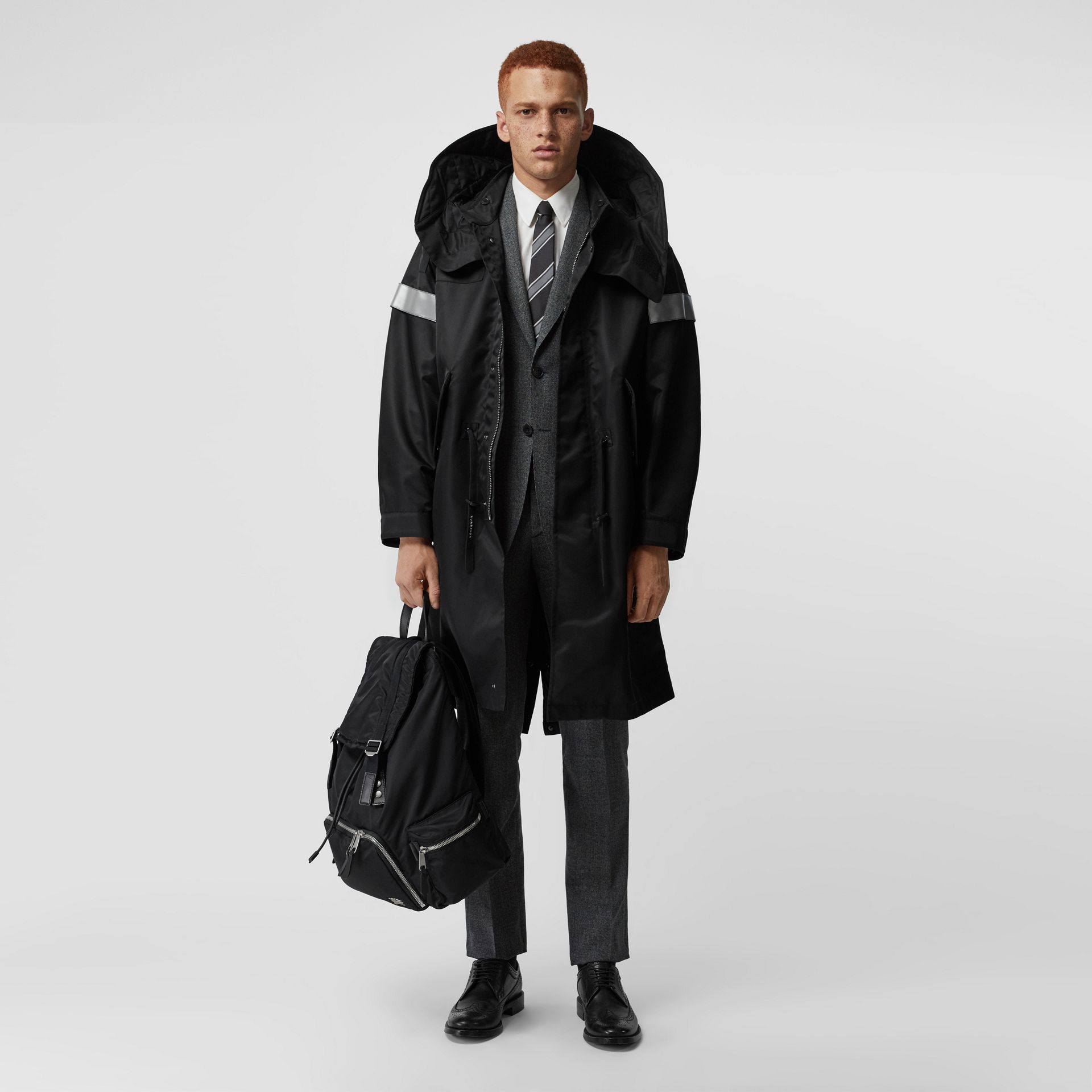 Detachable Hood Reflective Stripe Nylon Parka in Black - Men | Burberry United Kingdom - gallery image 0