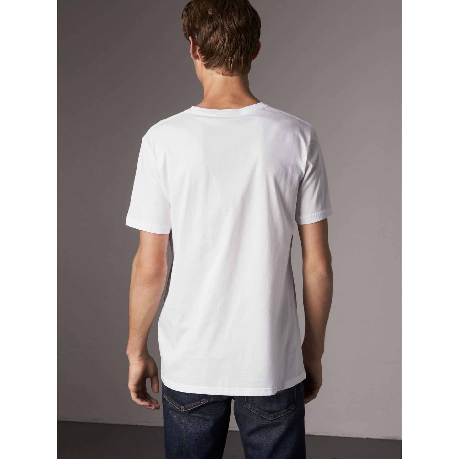 London Icons Print Cotton T-shirt in White - Men | Burberry - gallery image 3