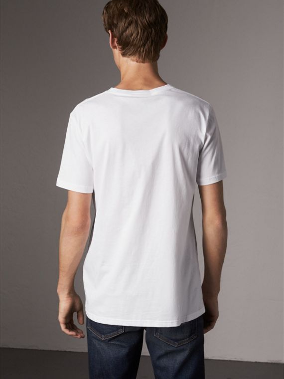 London Icons Print Cotton T-shirt in White - Men | Burberry - cell image 2