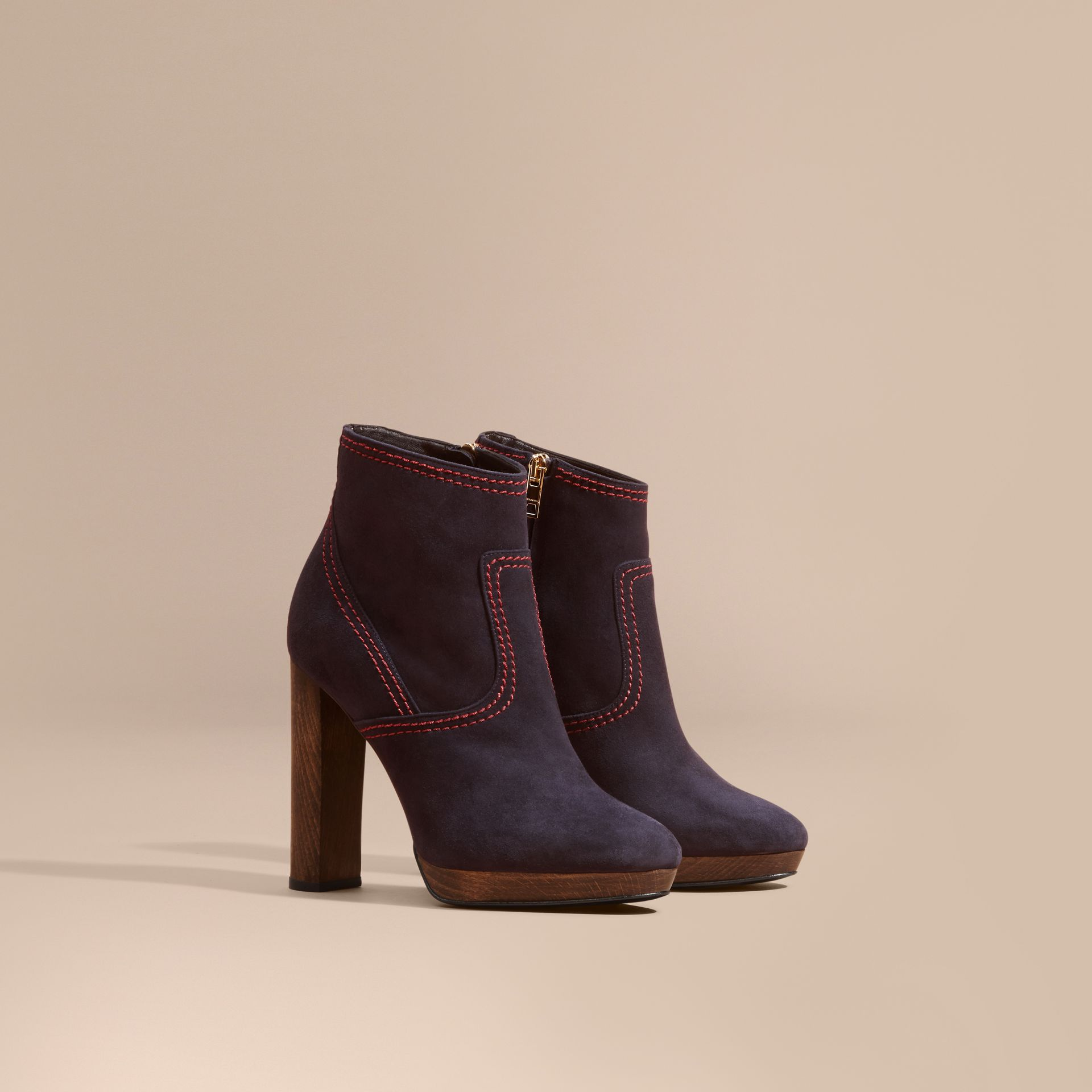 Suede Ankle Boots in Navy | Burberry United States - gallery image 0
