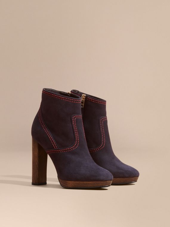 Bottines en cuir velours Marine