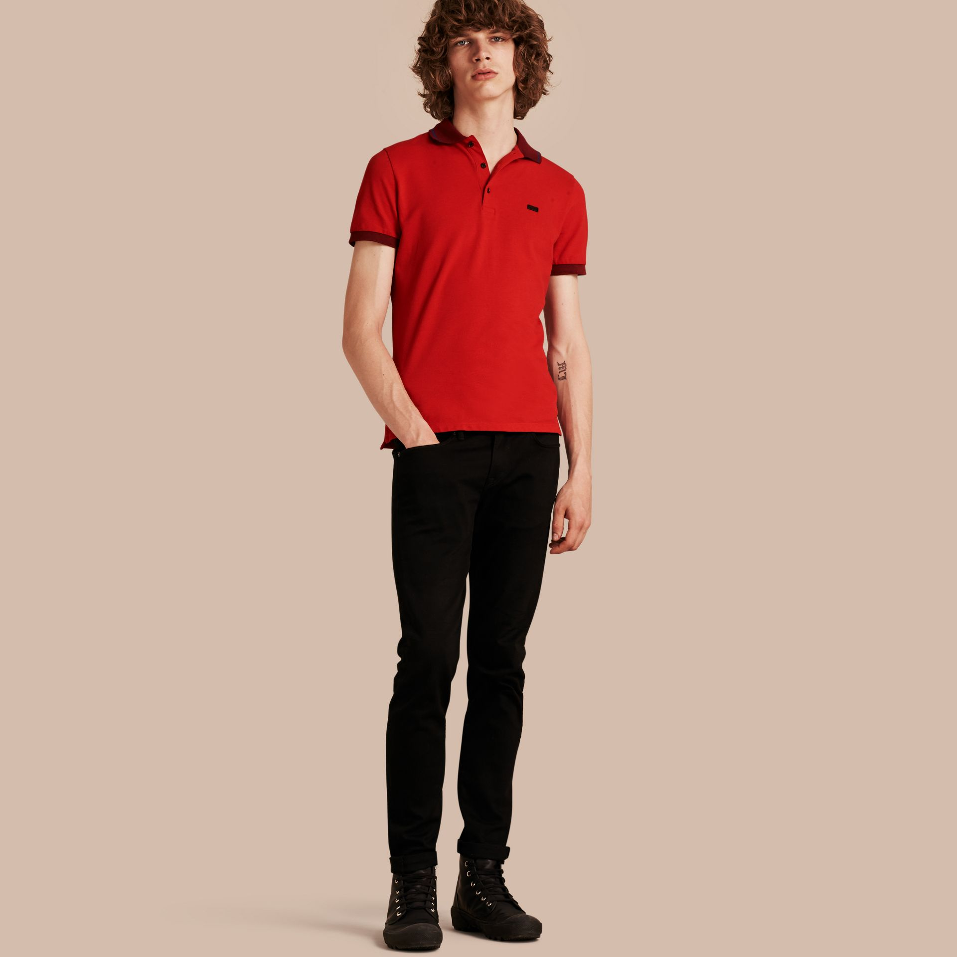 Union red/dark blue Contrast Trim Cotton Piqué Polo Shirt Union Red/dark Blue - gallery image 1