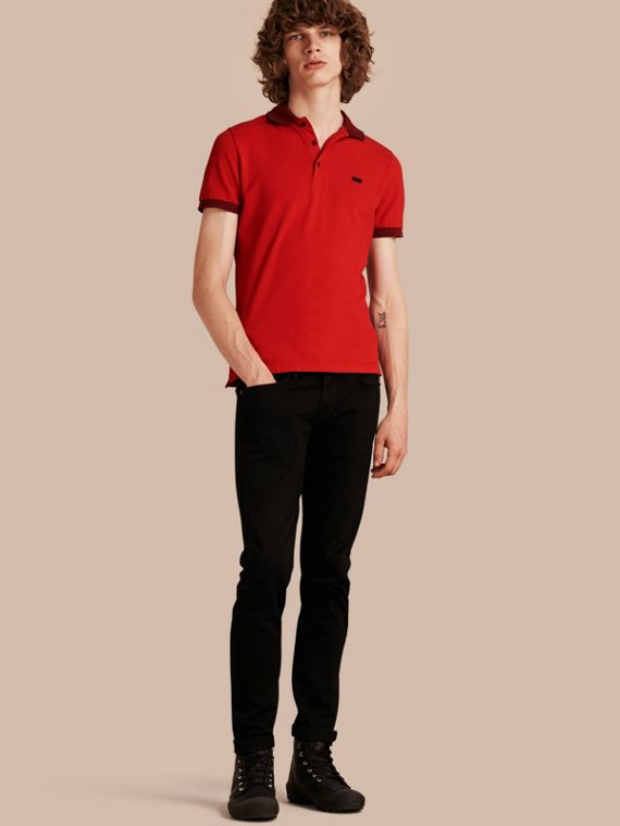 Contrast Trim Cotton Piqué Polo Shirt Union Red/dark Blue