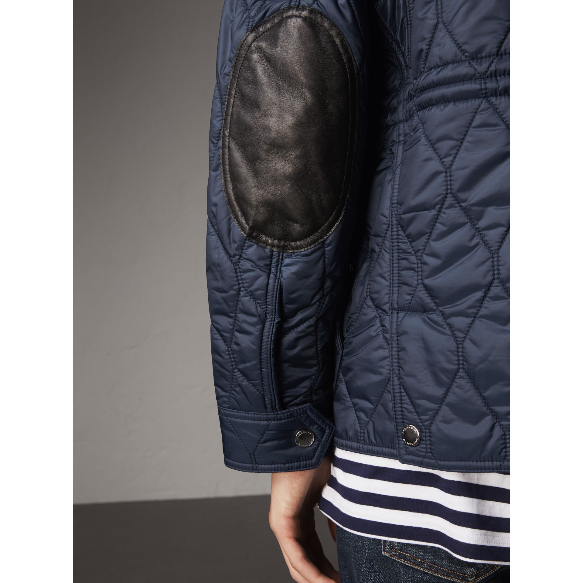 Diamond Quilted Field Jacket in Navy - Men | Burberry - gallery image 5