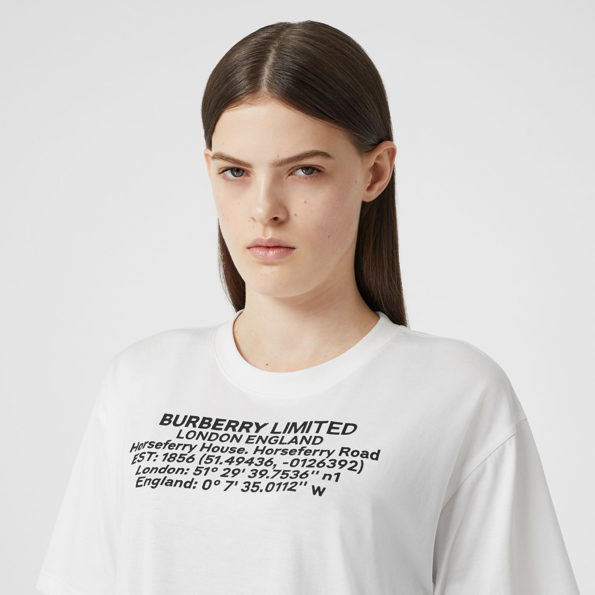 Location Print Cotton Oversized T-shirt in White - Women | Burberry - gallery image 1