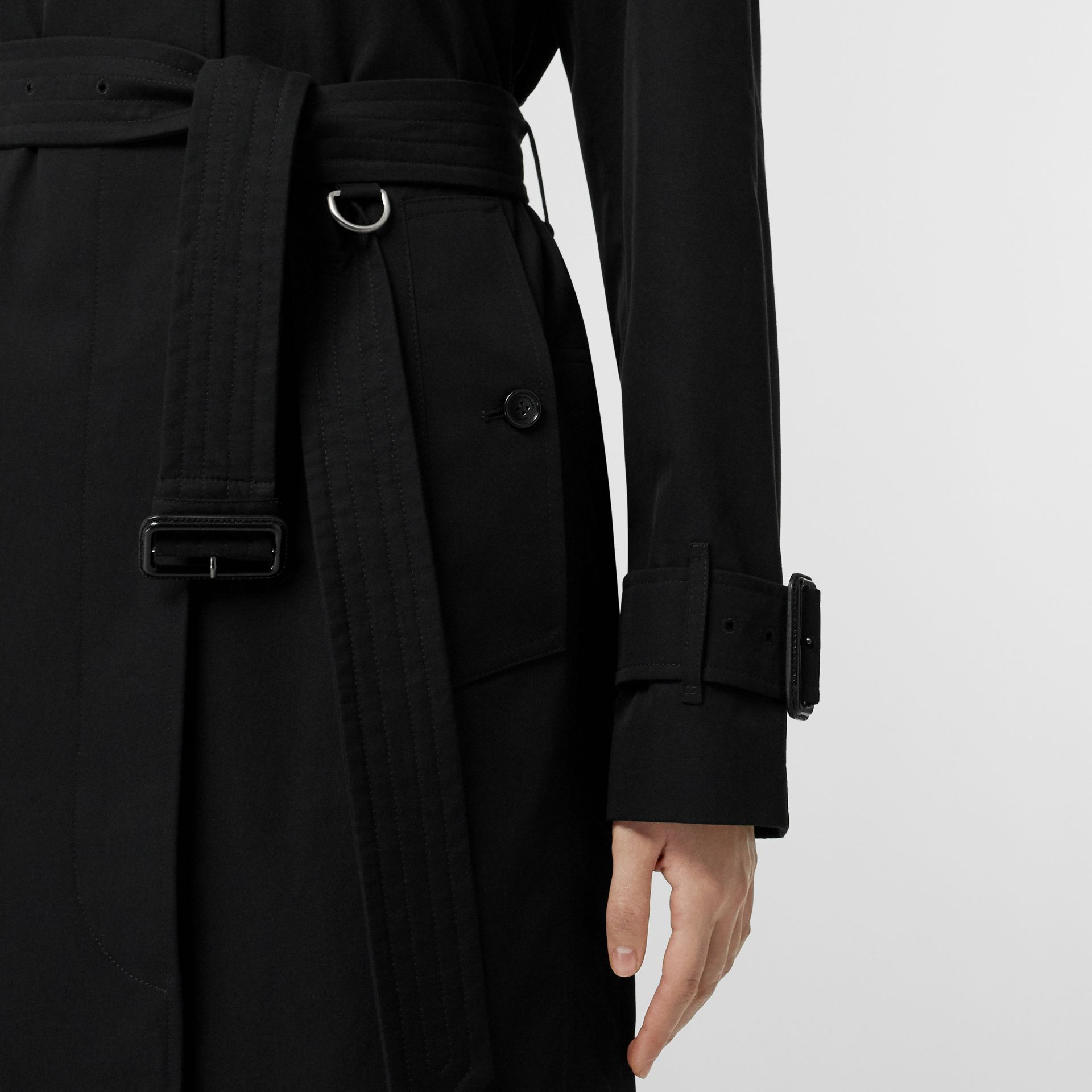 Tropical Gabardine Belted Car Coat in Black - Women | Burberry United States - gallery image 5