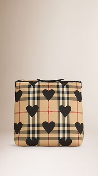 Large Leather Trim Check and Heart Pouch