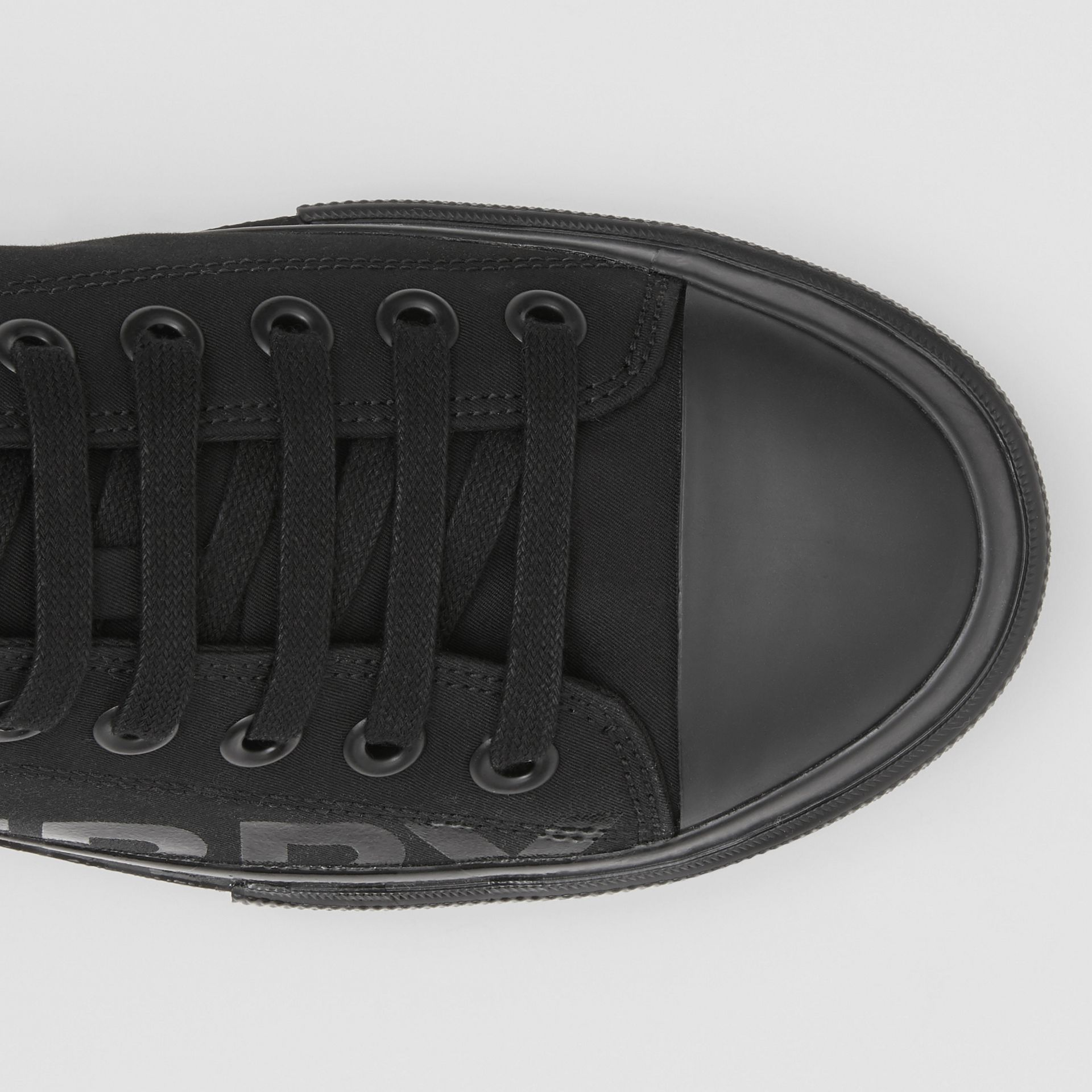 Logo Print Cotton Gabardine Sneakers in Black | Burberry Australia - gallery image 1