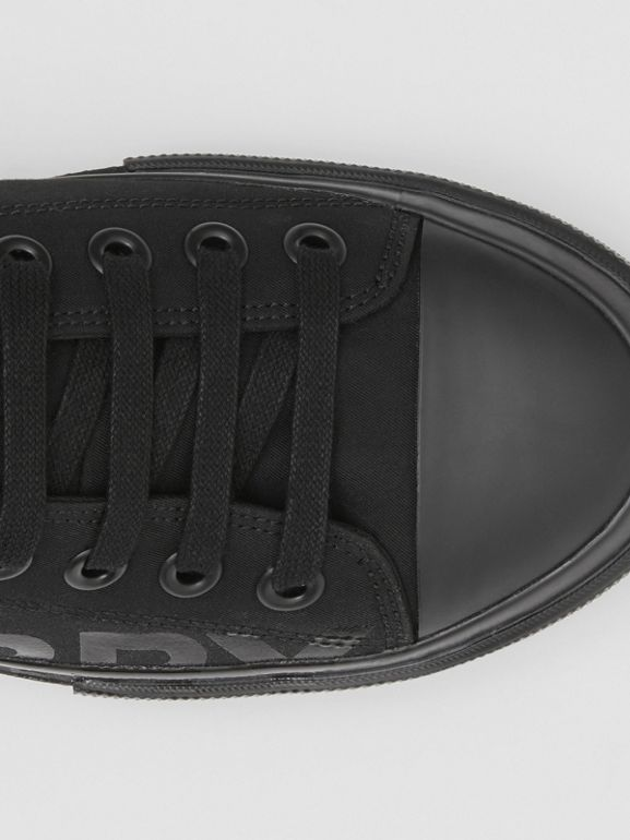 Logo Print Cotton Gabardine Sneakers in Black | Burberry - cell image 1