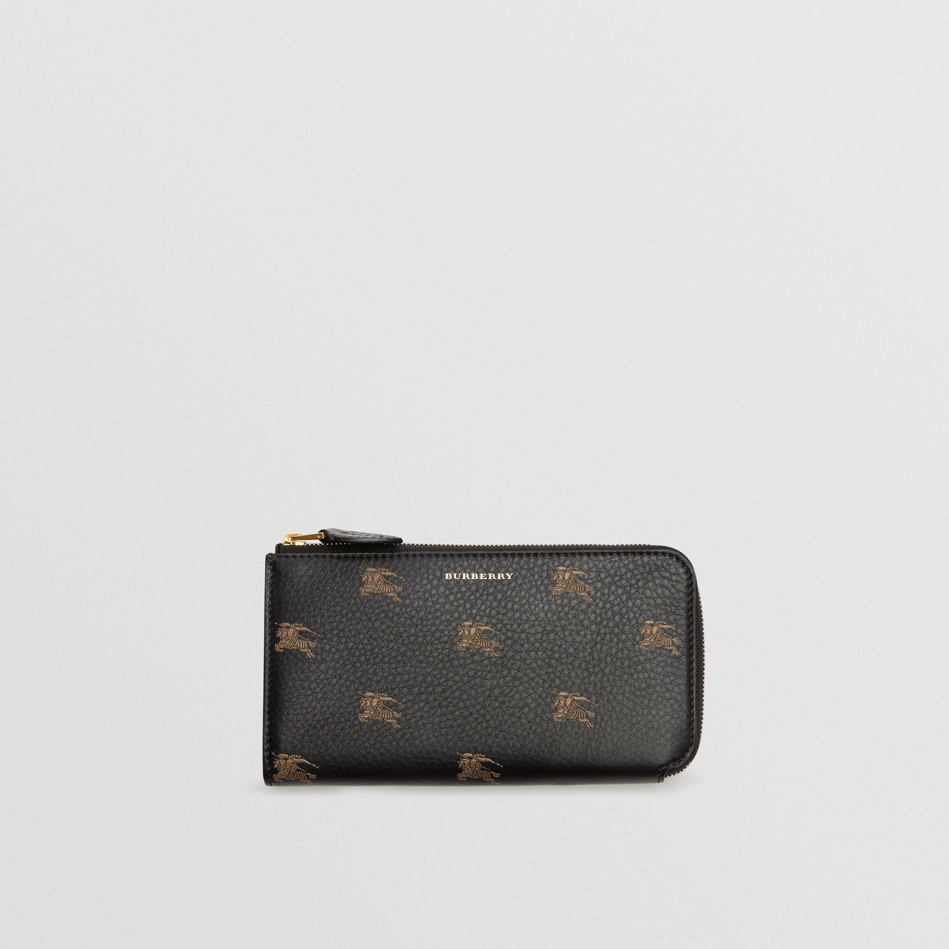 EKD Leather Ziparound Wallet and Coin Case in Black - Women | Burberry Australia - gallery image 0