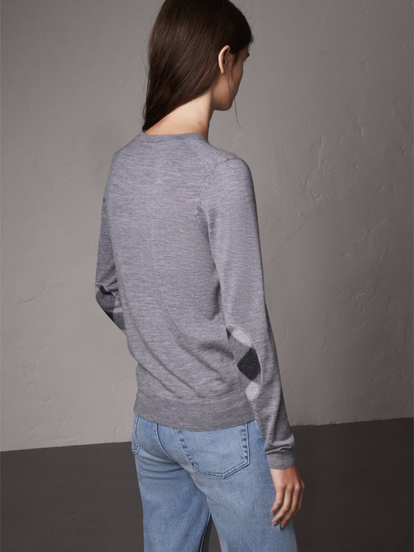 Check Detail Merino Wool Sweater in Mid Grey Melange - Women | Burberry United Kingdom - cell image 2