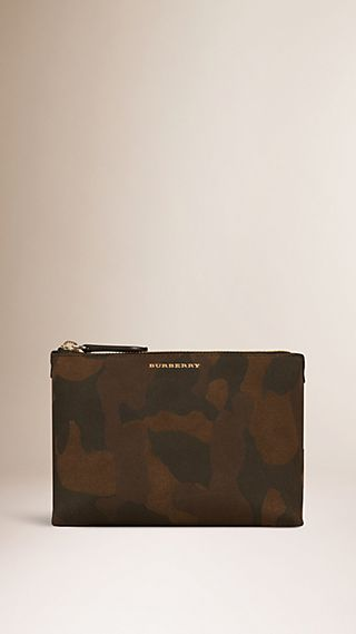 Medium Camouflage Print Suede Beauty Case