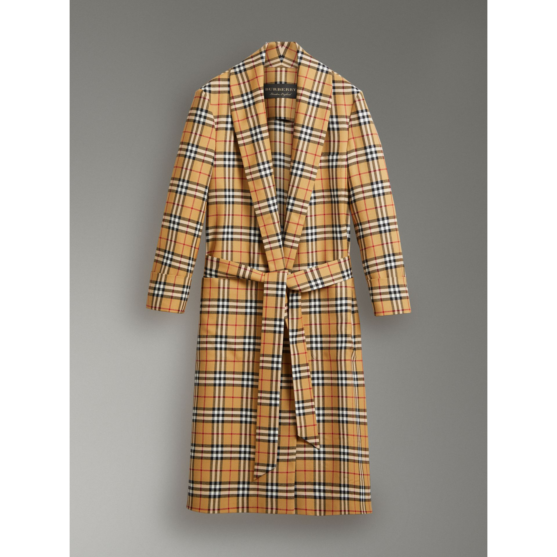 Reissued Vintage Check Dressing Gown Coat in Antique Yellow - Women | Burberry Australia - gallery image 3