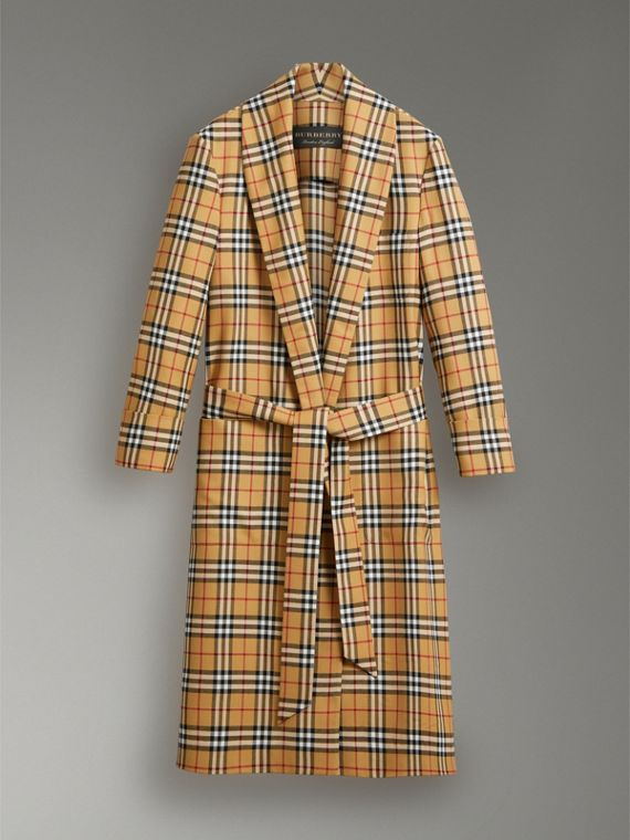 Reissued Vintage Check Dressing Gown Coat in Antique Yellow - Women | Burberry Australia - cell image 3