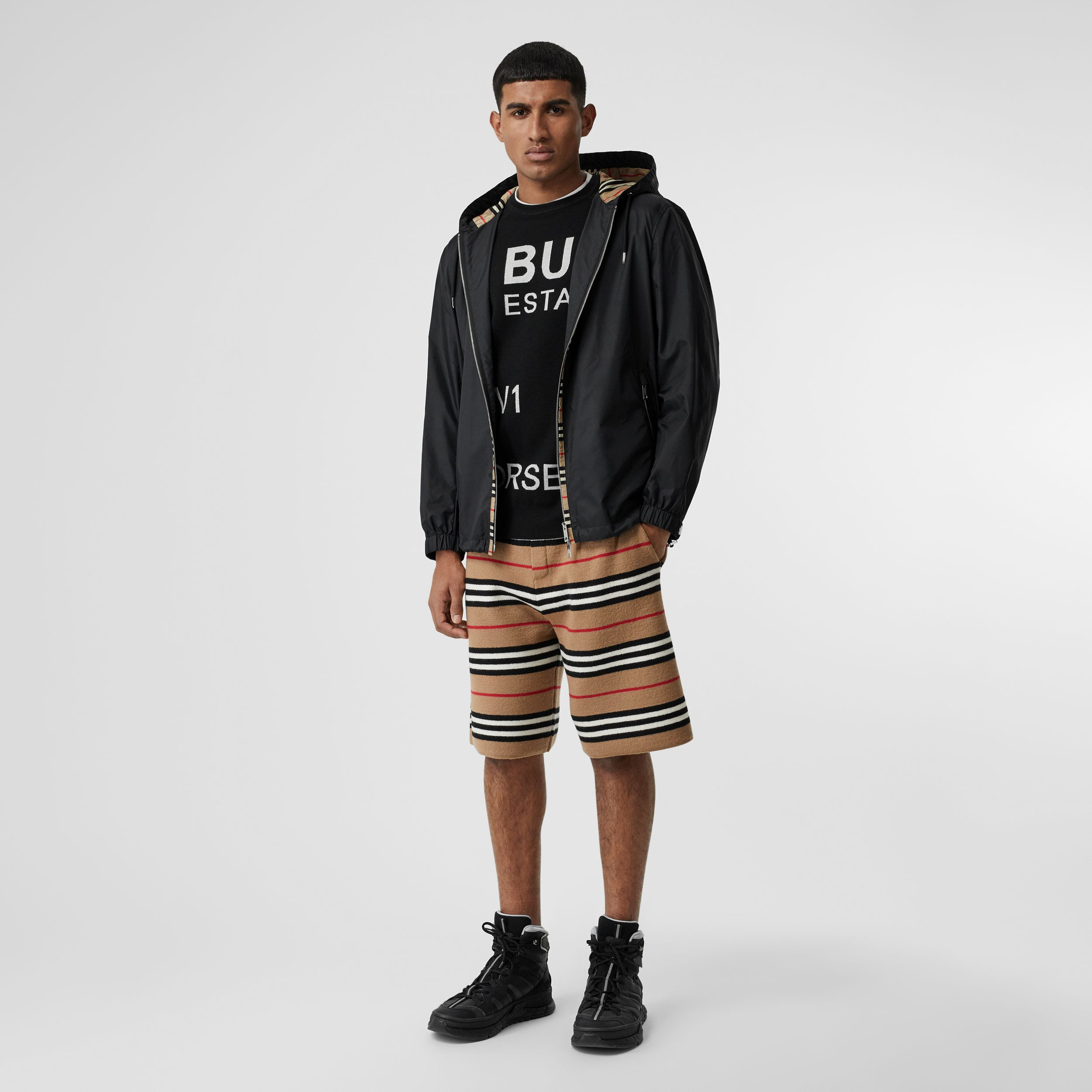 Icon Stripe Detail Nylon Canvas Hooded Jacket in Black - Men | Burberry - 1