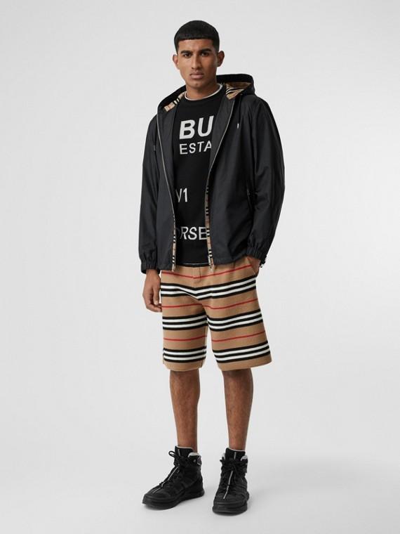 Veste à capuche en toile de nylon avec rayures iconiques (Noir)