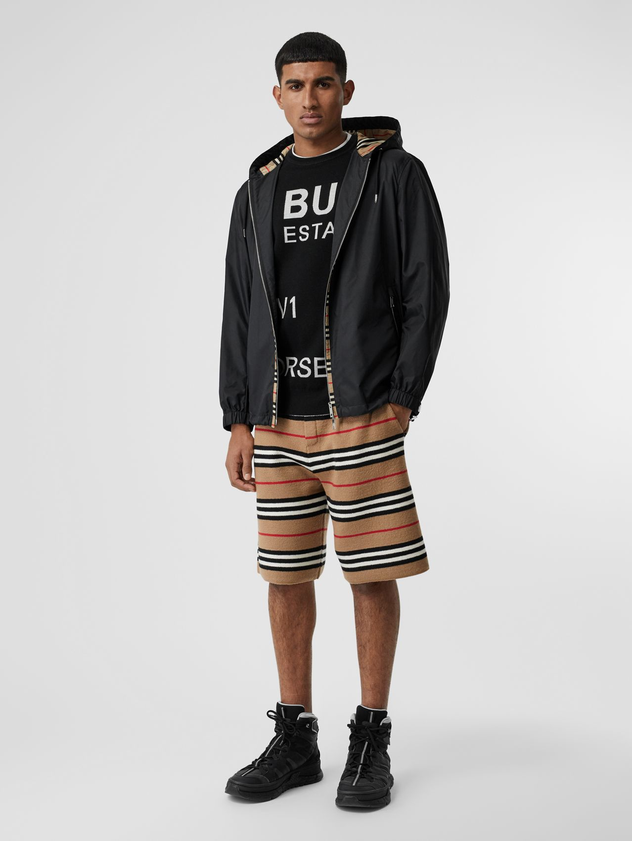 Icon Stripe Detail Nylon Canvas Hooded Jacket (Black)