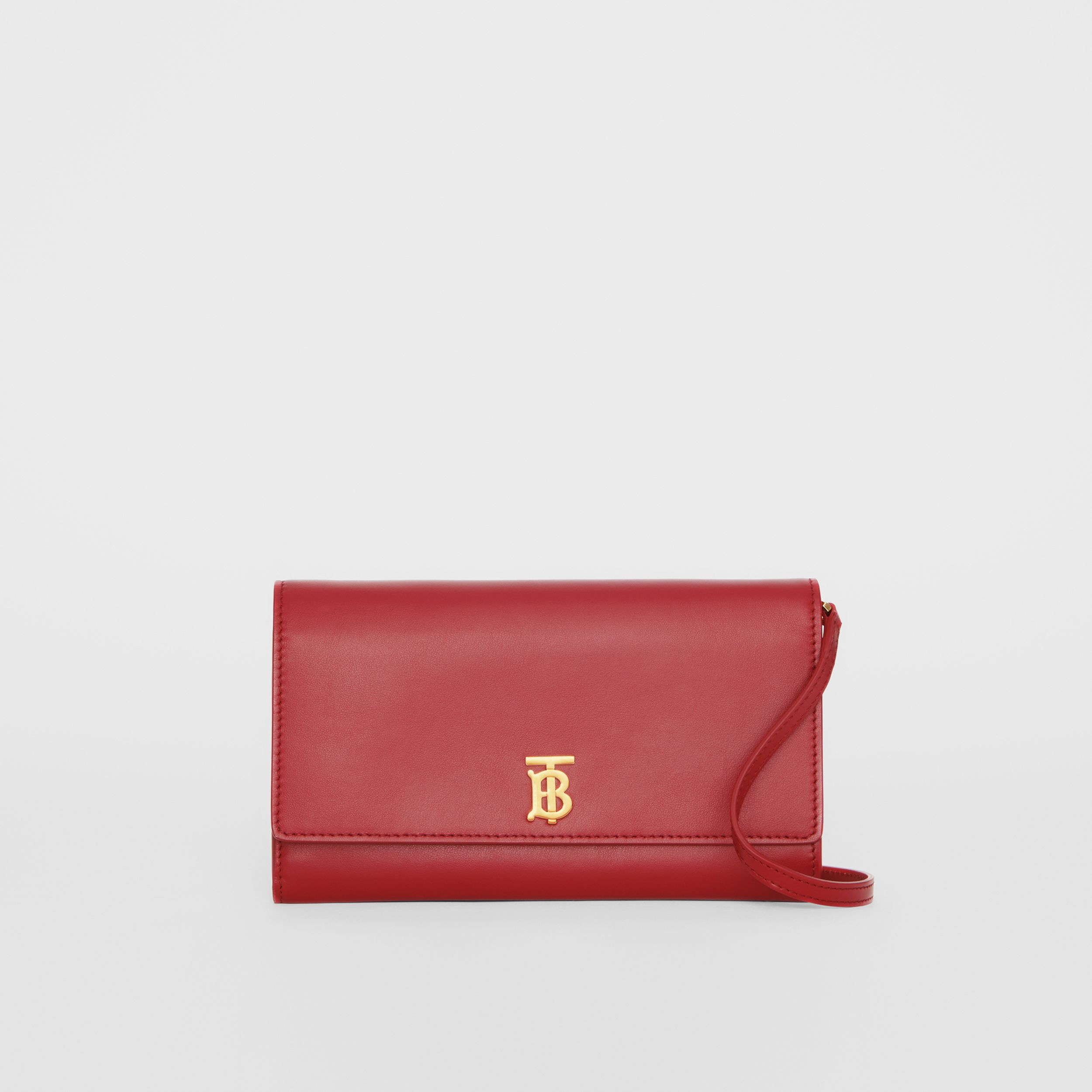 Monogram Motif Leather Wallet with Detachable Strap in Crimson - Women | Burberry - 1