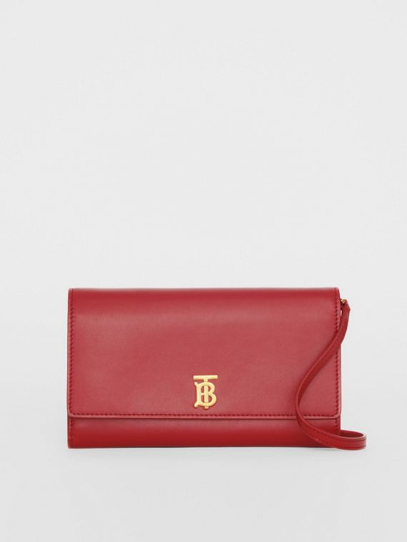 Monogram Motif Leather Wallet with Detachable Strap in Crimson