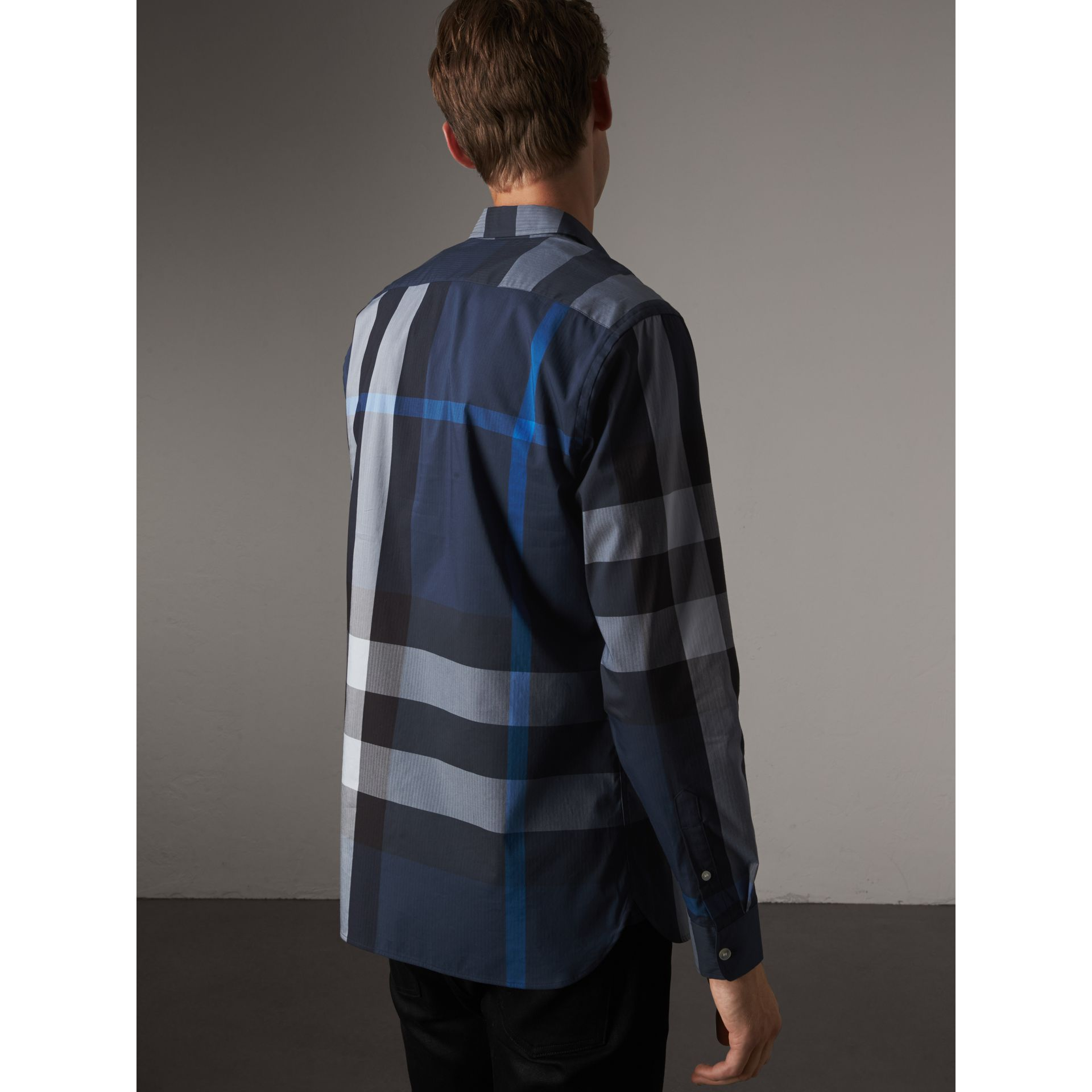 Button-down Collar Check Stretch Cotton Blend Shirt in Canvas Blue - Men | Burberry United Kingdom - gallery image 3