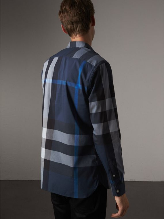 Button-down Collar Check Stretch Cotton Blend Shirt in Canvas Blue - Men | Burberry - cell image 2