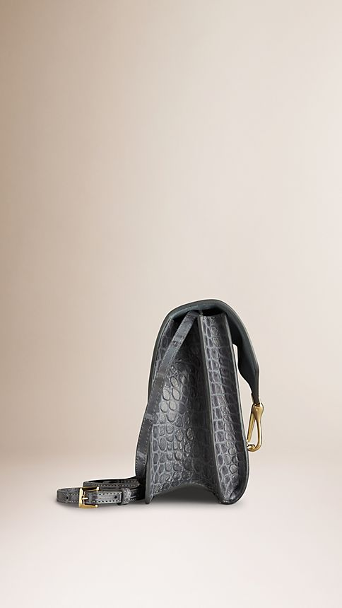 Grey Small Antiqued Alligator Crossbody Bag - Image 4