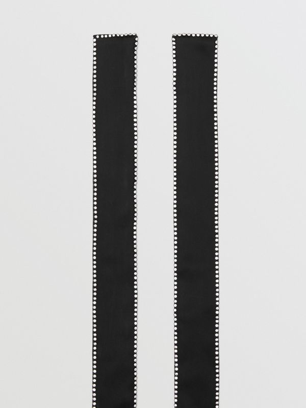 Crystal Trim Silk Satin Jacquard Skinny Scarf in Black - Women | Burberry United States - cell image 3