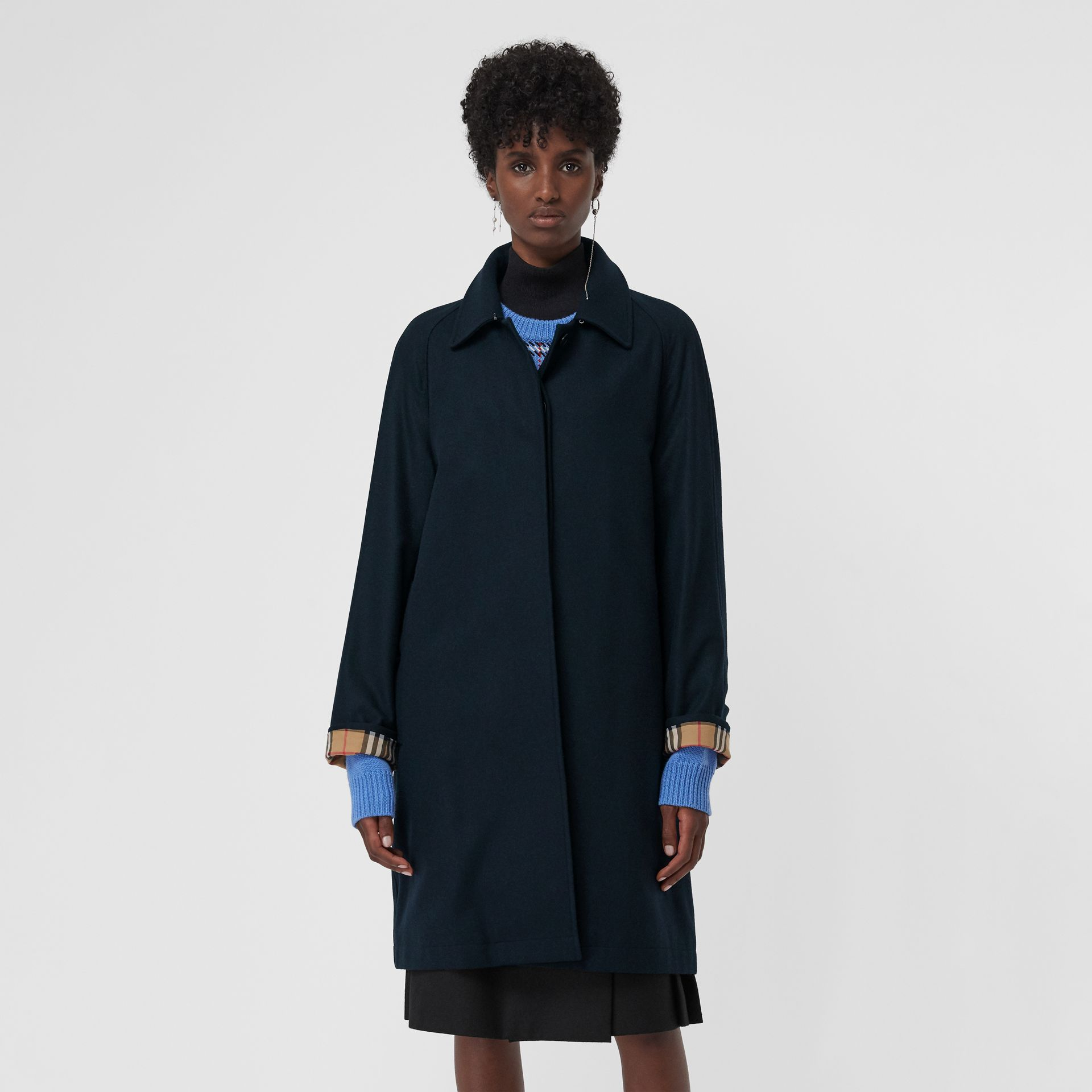 Cashmere Car Coat in Navy - Women | Burberry - gallery image 5