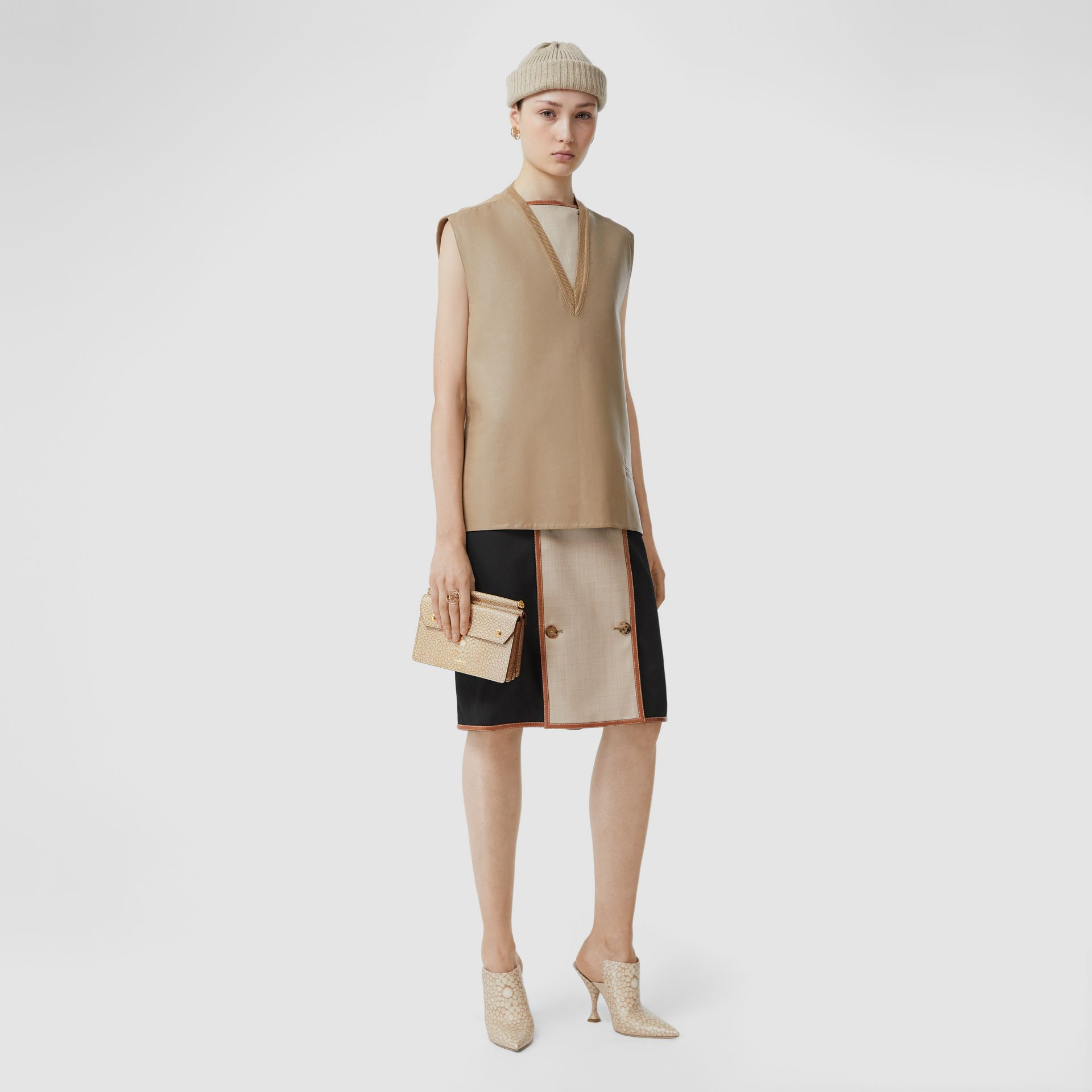 Mini Fish-scale Print Title Bag with Pocket Detail in Light Sand - Women | Burberry - gallery image 5